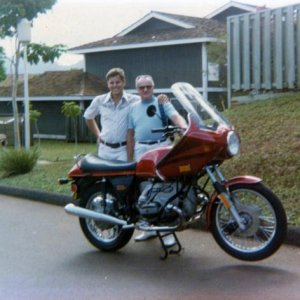 1977 R100S, my first BMW withmy mentor, Bill West, in Hawaii in 1978