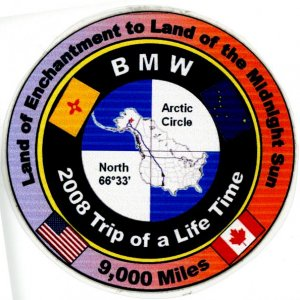 Our commemorative Arctic Circle Patch for the ride. Two of us made the round trip in 28 days.